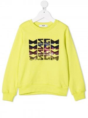 Джемпер с пайетками MSGM Kids. Цвет: желтый