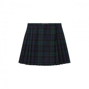 Шерстяная юбка Dal Lago. Цвет: зелёный