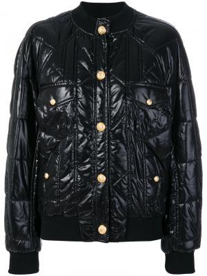 Стеганая куртка-бомбер Balmain. Цвет: чёрный