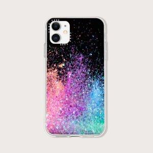 Блестящий чехол для телефона с узором пудры SHEIN. Цвет: многоцветный
