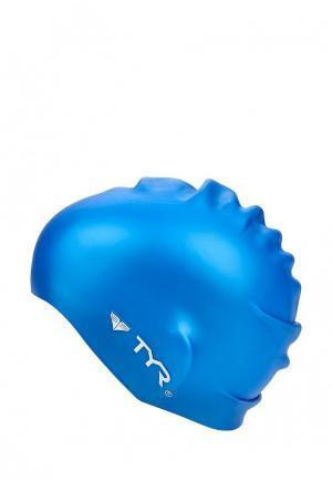 Шапочка для плавания TYR Wrinkle Free Silicone Cap. Цвет: синий