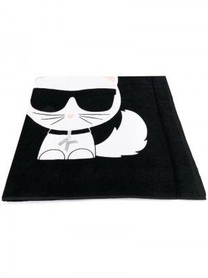 Пляжное полотенце с логотипом Karl Lagerfeld. Цвет: черный
