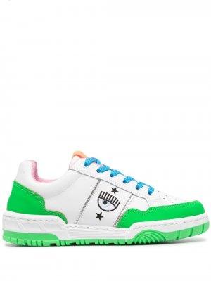 Кроссовки в стиле колор-блок Chiara Ferragni. Цвет: белый