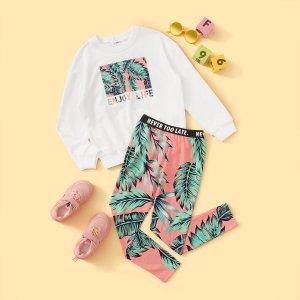 Пуловер и леггинсы с тропическим принтом для девочек SHEIN. Цвет: многоцветный