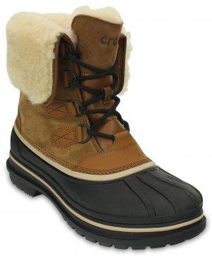 Ботинки мужские CROCS Men's AllCast II Luxe Shearling Boot Wheat/Black (Бежевый/Черный) арт. 203868. Цвет: бежевый/черный