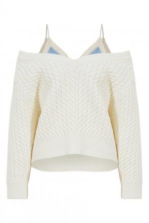 Белый комбинированный пуловер Alexander Wang.t. Цвет: белый