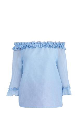 Легкая блузка с открытыми плечами и оборками на кромках BLUMARINE. Цвет: голубой