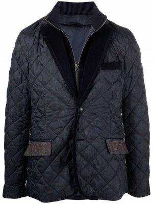 Стеганая куртка с принтом пейсли ETRO. Цвет: синий