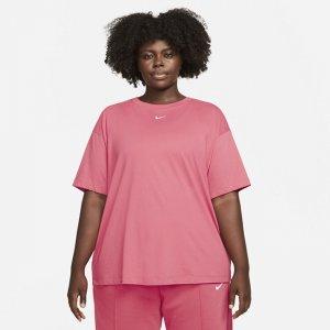 Женская футболка оверсайз с коротким рукавом Sportswear Essential (большие размеры) - Розовый Nike