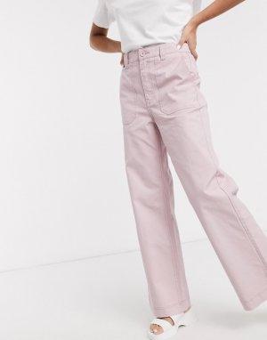 Светло-розовые джинсы с завышенной талией и карманами -Розовый Dr Denim