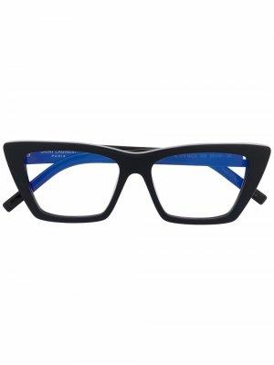 Очки в оправе кошачий глаз Saint Laurent Eyewear. Цвет: черный