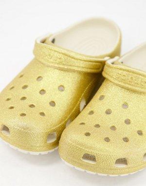 Клоги золотистого цвета с блестками Originals-Золотистый Crocs