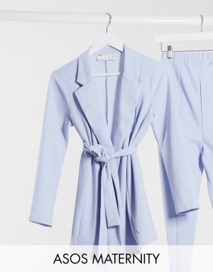 Голубой трикотажный пиджак с запахом Maternity-Синий ASOS DESIGN