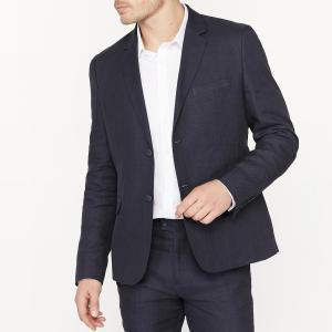 Пиджак костюмный узкого покроя из смесовой ткани льна La Redoute Collections. Цвет: синий морской