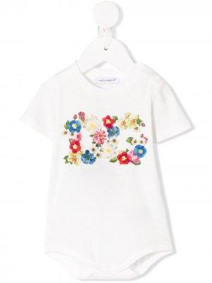 Боди с цветочным принтом Dolce & Gabbana Kids. Цвет: белый