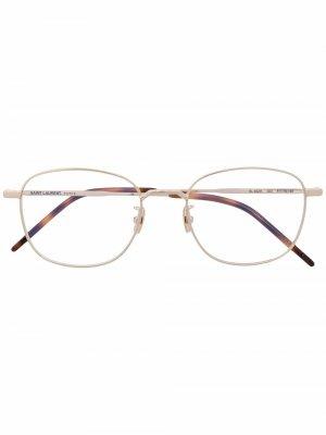 Polished-effect round-frame glasses Saint Laurent Eyewear. Цвет: золотистый