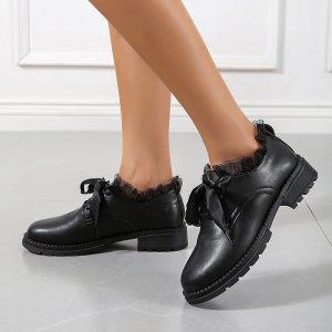 Лоферы на массивной подошве шнурке SHEIN. Цвет: чёрный