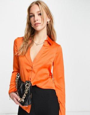 Оранжевая атласная рубашка узкого кроя -Оранжевый цвет ASOS DESIGN