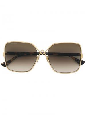 Затемненные солнцезащитные очки в стиле оверсайз Altuzarra. Цвет: золотистый