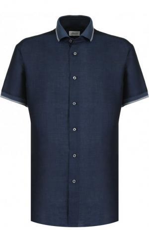 Рубашка с короткими рукавами из смеси льна и хлопка Brioni. Цвет: синий