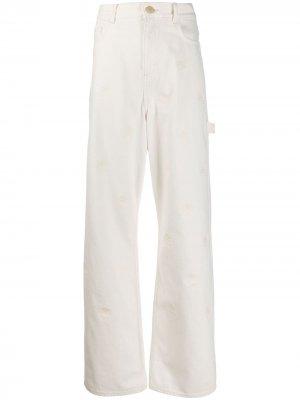 Широкие джинсы с вышивкой Hilfiger Collection. Цвет: белый