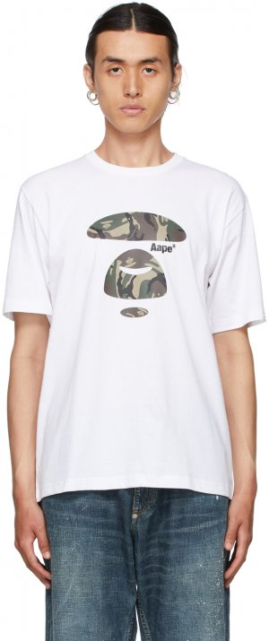 White Camouflage Logo T-Shirt AAPE by A Bathing Ape. Цвет: whx white