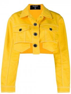 Укороченная джинсовая куртка Balmain. Цвет: желтый
