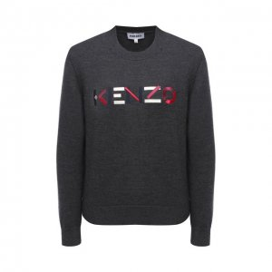Шерстяной пуловер Kenzo. Цвет: серый