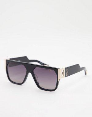 Черные солнцезащитные очки в стиле унисекс с плоским верхом Quay X Saweetie Go Off-Черный цвет Australia