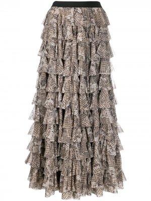 Ярусная юбка макси Norma Kamali. Цвет: нейтральные цвета