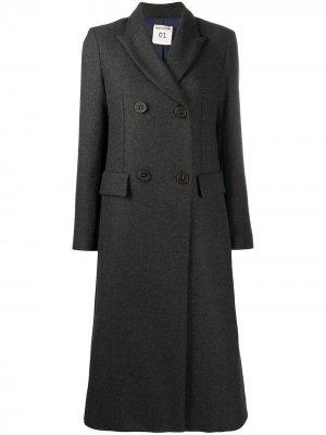 Двубортное пальто Semicouture. Цвет: серый