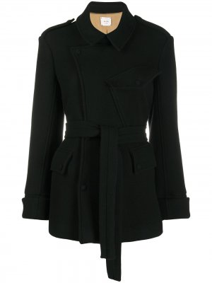 Куртка с поясом Alysi. Цвет: черный