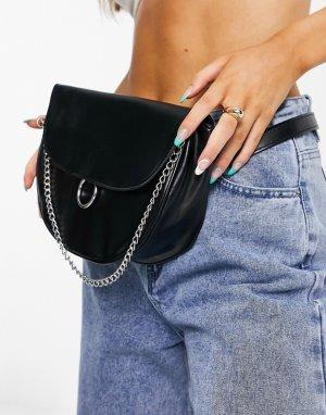 Черная сумка-кошелек на пояс с цепочкой -Черный цвет SVNX