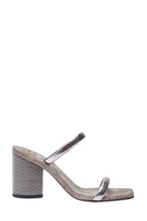 Сабо из металлизированной кожи с вышивкой Мониль BRUNELLO CUCINELLI. Цвет: бежевый