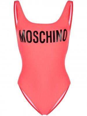 Купальник с U-образным вырезом и логотипом Moschino. Цвет: розовый