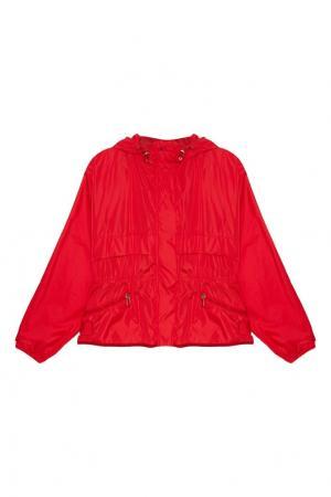 Красная ветровка с капюшоном Moncler. Цвет: красный
