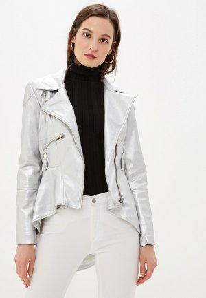 Куртка кожаная Vittoria Vicci. Цвет: серебряный