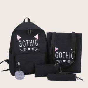 Рюкзак с помпоном и пенал для девочек 4шт. SHEIN. Цвет: чёрный