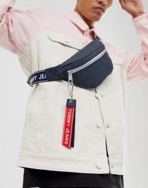 Темно-синяя сумка-кошелек на пояс с логотипом Tommy Jeans. Цвет: темно-синий