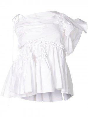 Блузка на одно плечо с оборками Dice Kayek. Цвет: белый
