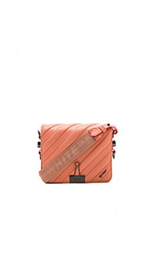 Diagonal quilted flap bag OFF-WHITE. Цвет: коралл