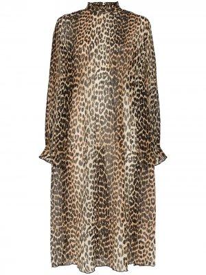 Платье миди с леопардовым принтом Ganni