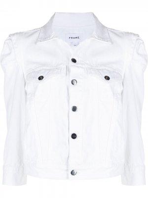 Джинсовая куртка Rosette с пышными рукавами FRAME. Цвет: белый