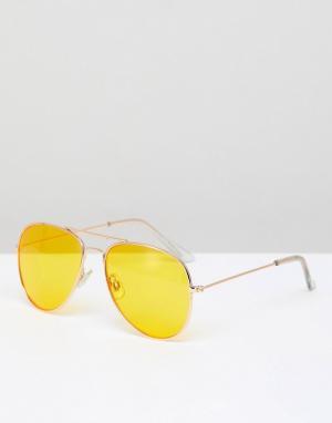 Солнцезащитные очки-авиаторы с оправой медного цвета и желтыми стеклами Pull&Bear. Цвет: медный