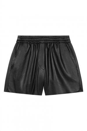 Черные кожаные шорты Maje. Цвет: черный
