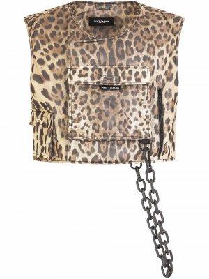 Шелковый топ с леопардовым принтом Dolce & Gabbana. Цвет: коричневый