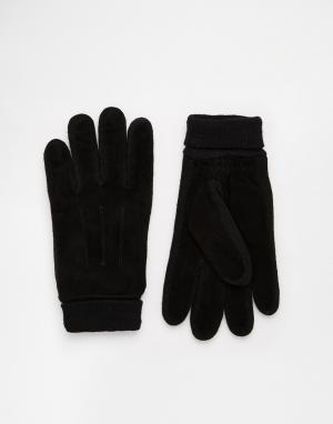 Замшевые перчатки 7X. Цвет: черный