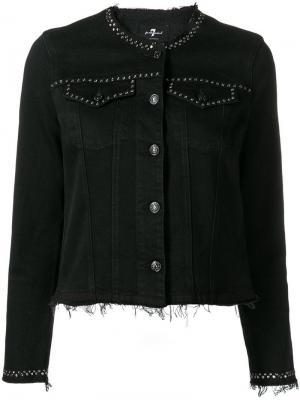 Джинсовая куртка с заклепками 7 For All Mankind. Цвет: vintage gravity black