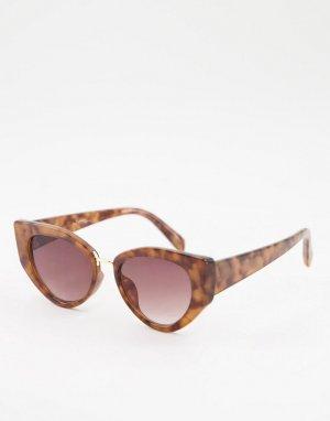 Женские солнцезащитные очки «кошачий глаз» в черепаховой оправе -Коричневый цвет Jeepers Peepers