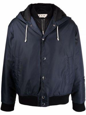Легкая куртка с капюшоном Marni. Цвет: синий